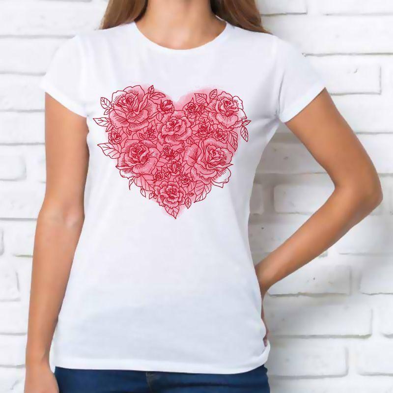 precios de liquidación gama completa de especificaciones rendimiento superior Camiseta mujer 'corazón rosas'